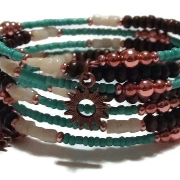 Elk Antler & Natural Turquoise Beaded Bright Copper Artisan Crafted Wrap Bracelet