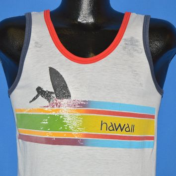 70s Hawaii Rainbow Surfing Tank Top t-shirt Small