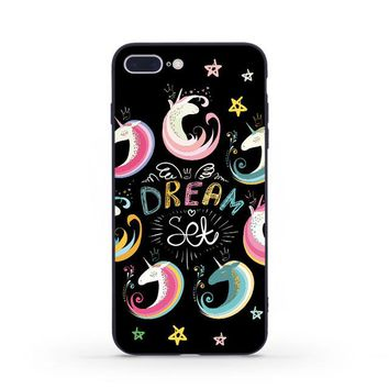 Lemooc Lovely Phone Case for iPhone 7 8 Plus Soft TPU+PC Cute Unicorn Cases for iPhone X Full Back Case for iPhone 6 6s Plus