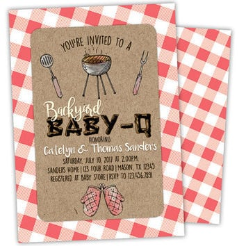 BBQ Baby Shower Invitation - Baby-Q Baby Shower Invite - BabyQ Invitations - Couples Shower Invitation - Coed Baby Shower - Kraft Gingham