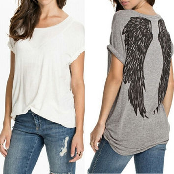 NEW Womens Casual Crew Neck Angel Wings Top Blouse Summer Short Sleeve Oversize Tee Shirt S M L XL XXL = 1930208516