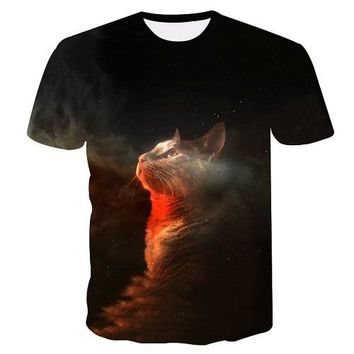7a6756810a51 Laser Cats 3D Printed Tees Astronaut Cat Playing With The Lightn