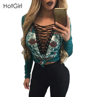 Fashion Sexy Deep V Lace up Lady Top Tee Full Sleeve Letter Print Casual T shirt Hollow out Bodycon Popular Streetwear