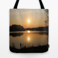 Fishing alone  Tote Bag by Robleedesigns