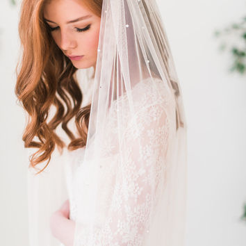 English net bridal veil with crystals