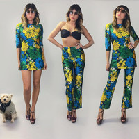 Vintage 60's 70's Rare 2-Piece Botanical PSYCHEDELIC Micro Mini Dress And High Waisted Bellbottom Pantsuit || 3 In 1 Outfits || Size Small