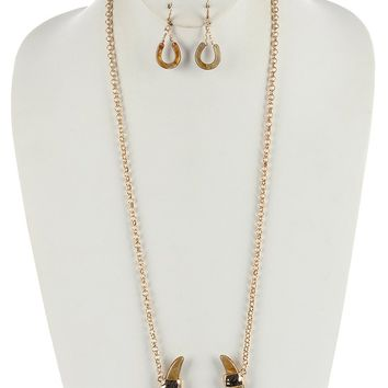 Natural Turtoise Lucite Horseshoe Shape Pendant Necklace And Earring Set