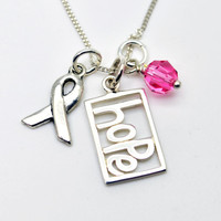 Breast Cancer Awareness Hope Necklace  by LoveItPersonalized