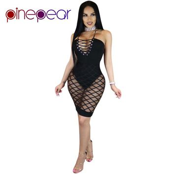 PinePear Super Sexy Hollow Out Fishnet Vestidos Clubwear 2019 New Summer Women Deep V-Neck Lace Up Halter Bandage Mesh Dress