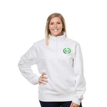 KD Kappa Delta Sorority Embroidered Laurel Wreath Fleece Quarter Zip Pullover/Jacket/Sweatshirt.