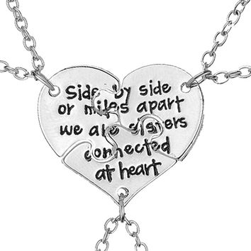 Hot 3 pcs set Friendship Jewelry Hand Stamped Apart We Are Sisters Connected At Heart Sister BFF Necklace gift free shipping