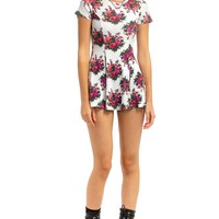 Vintage 90's Rib Knit Floral Mini Dress - XS
