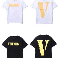 HCXX 19July 599 Vlone Friends Cotton Comfortable Short-sleeved T-shirts