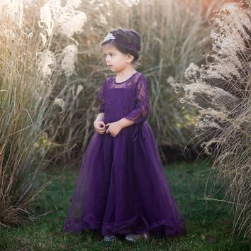Gabriella Eggplant Dark Purple Lace Sleeve Tulle Skirt Dress Gown
