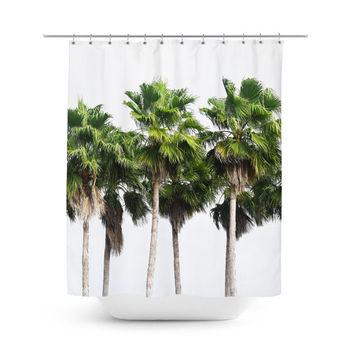 Sand Key Palms - Shower Curtain, Green Palm Trees Tropical Decor, Beach Style Vanity Bathroom Bath Tub Hanging Curtain Accent. 71x74 Inches