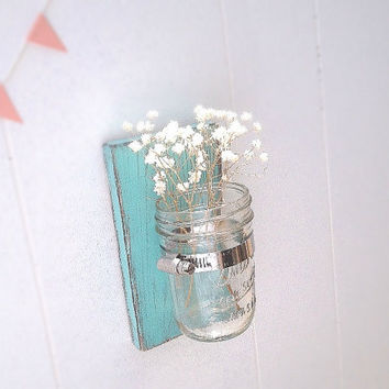 Wall sconce wood vase mason jar Light Turquoise - single vase