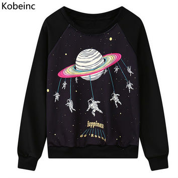 Funny Astronaut Cartoon Printing Sweatshirt Casual Long Sleeve Round Neck Women Sweatshirts Loose Sudadera 2016 Autumn Moletom