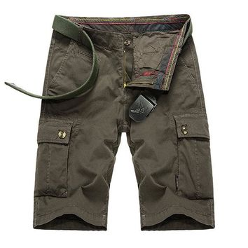 Mens Outdoor Big Pockets Solid Color Knee Length Cargo Pants Casual Cotton Beach Shorts