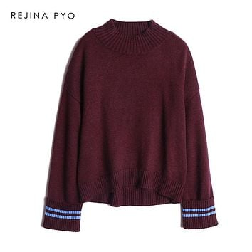 REJINAPYO Women Autumn Winter Sweet Elegant Half Turtleneck Loose Knit Sweater Contrast Color Striped Pullover Plus Size
