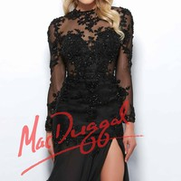 Mac Duggal Black White Red 82110R Dress