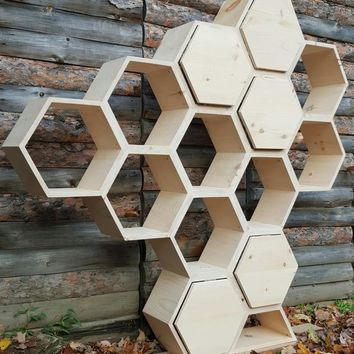 Shelving Unit ~ Modern Furniture / Retail Shelving / Salon Decor / Wedding Decor / Kitchen Cabinet / Geometric Shelves / Honeycomb Shelves