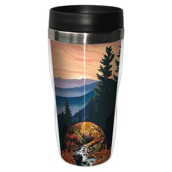 Scenic Autumn Artful Travel Mug - Premium 16 oz Stainless Lined w/ No Spill Lid