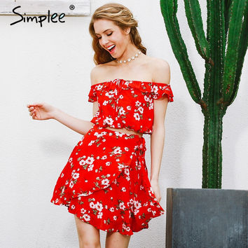 Simplee Two-piece red chiffon summer dress women 2017 Vintage party ruffles short dress Off shoulder beach dress vestido