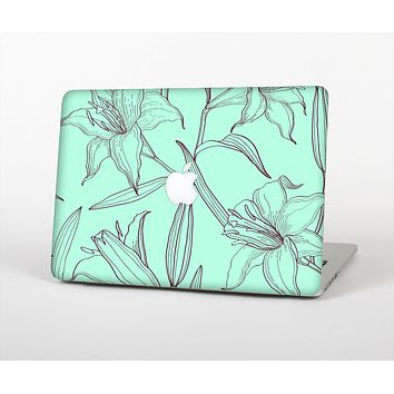The Teal & Brown Thin Flower Pattern Skin Set for the Apple MacBook Air 13""