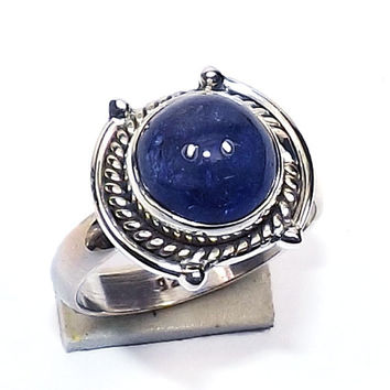Tanzinite Ring - Fine Silver Ring - Solid Silver Ring, Cabochon Ring, Sterling Ring, Bezel Set Ring,Gemstone Ring, Daily Wear Ring