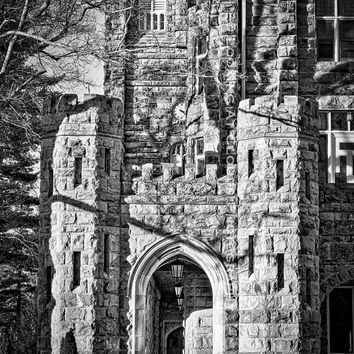 architectural art, architecture photo, Sewanee, old stone building, gothic building, shadows, black and white fine art photography, castle