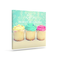 "Beth Engel ""Life Is As Sweet As Cupcakes"" Green Canvas Art"