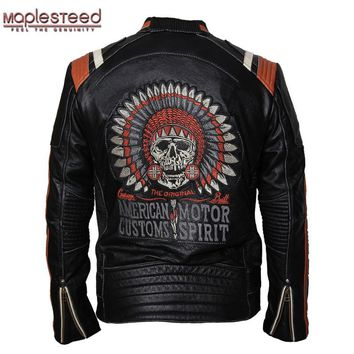 MAPLESTEED Brand Motorcycle Jacket Vintage Skull Embroidery 100% Cowhide Skin Genuine Leather Jacket Moto Coat Biker Jacket 086