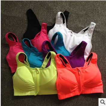 Women Workout Tank Top Stretch Seamless  Fitness Padded Yoga Sports Bra = 1932548100