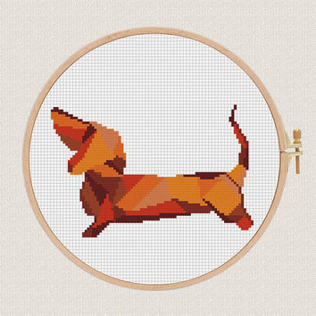 Geometric dog Cross Stitch pattern, dachshund Pattern, Modern Cross Stitch, Animal Cross Stitch, poly creative design art work