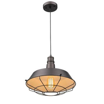 """Ironclad, Industrial-Style 1 Light Rubbed Bronze Ceiling Mini Pendant 14"""" Shade"""