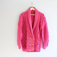 Hand knitted Pink Cable Knit Fishermen's Chunky Knit Cardigan Slouchy Sweater Vintage Size M - L #K054A