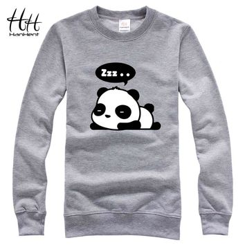 HanHent Cute Panda Funny Cotton Sweatshirts Men Creative Design Hoodies 2017 New Fashion Brand Couples Streetwear Men's Casual