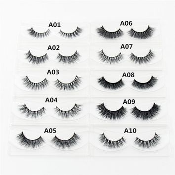 1 pair 3D Handmade Mink Eyelashes individual Natural False Eyelashes for Beauty Makeup fake Eye Lashes Extension A01-A19-D23