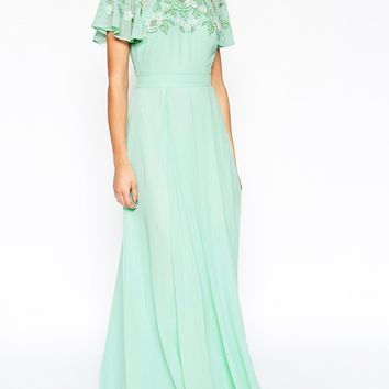 ASOS Embellished Flutter Sleeve Maxi Dress at asos.com