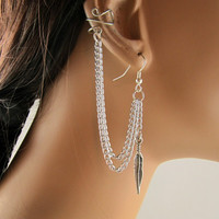 Upper Cartilage Earring Double Chain Silver Feather