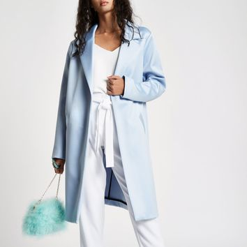Light blue satin tailored coat - Coats - Coats & Jackets - women