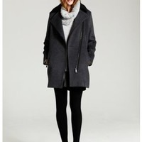 Granite asymmetric biker coat