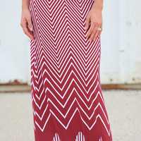 Show Me The Chevron Maxi Skirt - Wine