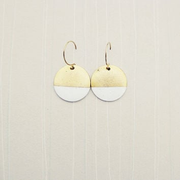 White Painted Circle Color Block Earrings with 14k Gold Fill Earwires