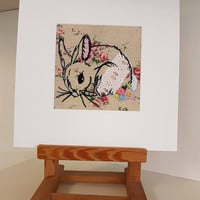 Rosey rabbit free motion machine embroidery-wildlife-emboridery mounted unframed-sewing textiles artwork-textile media-college textiles