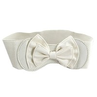 Off White Bowknot Buckle Elastic Waist Belt for Ladies