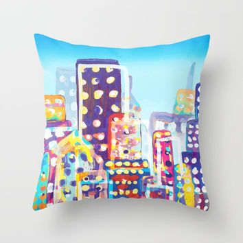 NYC City Inspired Painting Detailed Representing Chaos of the World Throw Pillow by AEJ Design