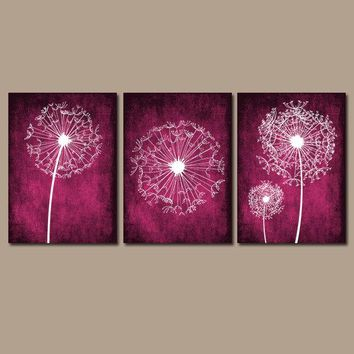DANDELION WALL ART, Dark Pink Magenta Bedroom Wall Art, Dandelion Canvas or Prints, Bathroom Decor, Dandelion Pictures, Set of 3 Wall Decor