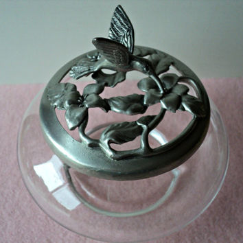 Vintage Pewter Hummingbird Glass Jar 1992 Seagull Canada Etain Pewter Zinn Potpourri Vanity Trinket Box Elegant Home Decor Gift for Her