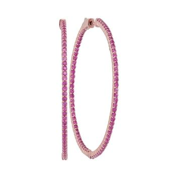 14kt Rose Gold Womens Round Natural Pink Sapphire Slender Hoop Earrings 3-1/2 Cttw